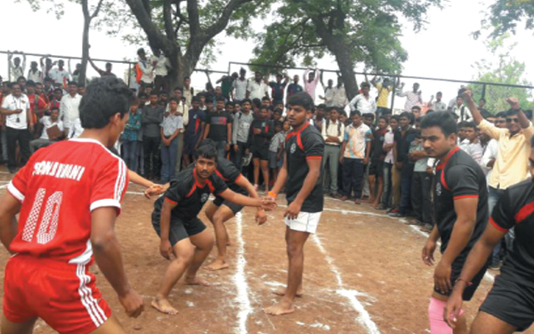 A snap during inter-collegiate Kabbadi matches